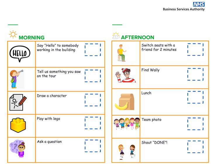 Activity sheet for children with tick boxes for each task they are going to do.