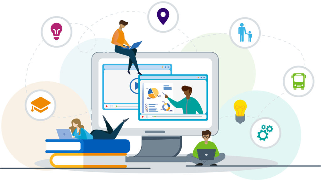 Illustration of people sat beside and on computer screen with different icons floating above them.